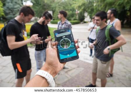 Pokemon GO augmented reality smartphone game player shows his pokemon, Plovdiv, Bulgaria, July 24, 2016.