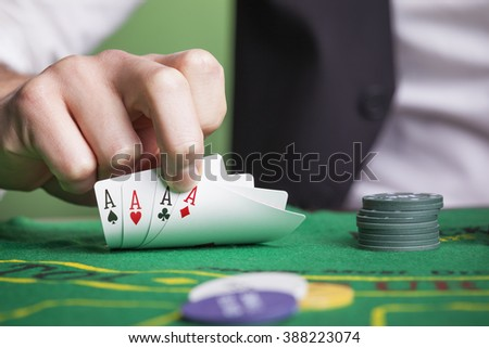 Poker aces on the table - stock photo