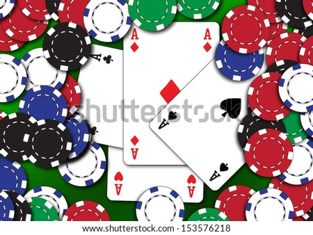 Poker aces with chips