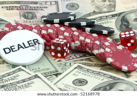 poker background with dollars,dices and chips