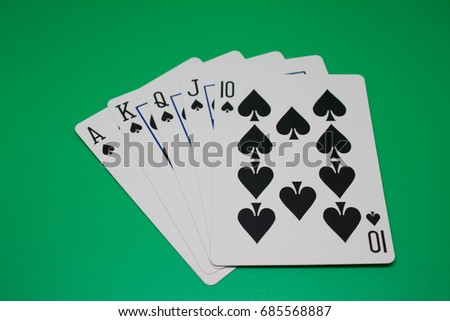 Poker Card on Green Background
