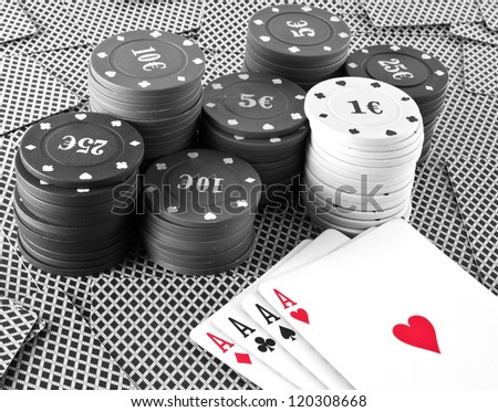 poker cards background black and white - stock photo