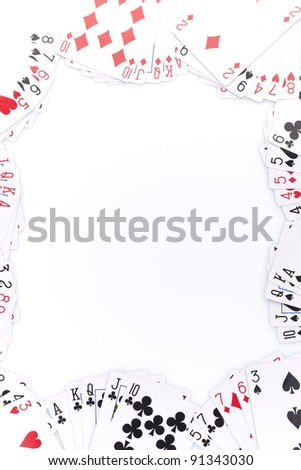 Poker cards on white background.