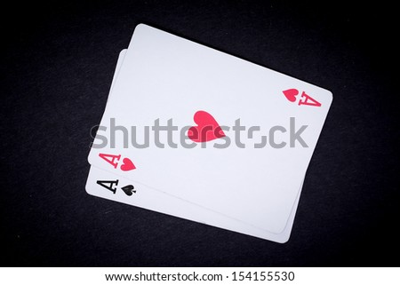 poker cards with black background in Casino