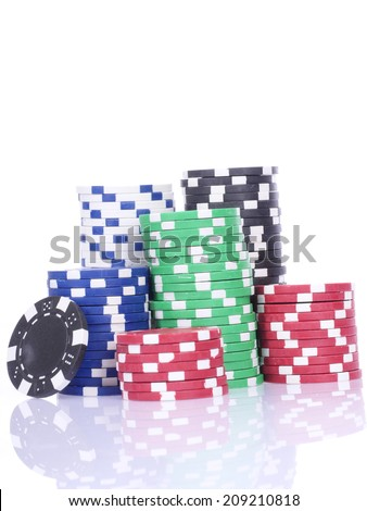 poker casino chips isolated on white