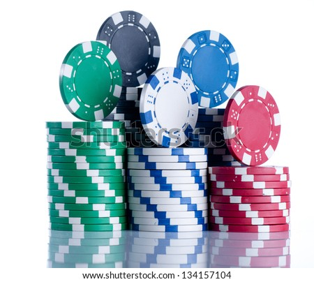 Poker chip isolated on white background