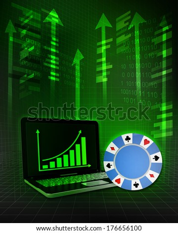 poker chip with positive online results in business illustration - stock photo