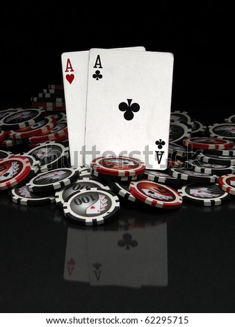 Poker chips and cards - stock photo