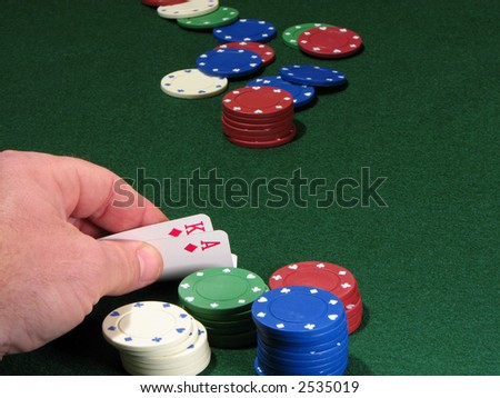 Poker chips and hand