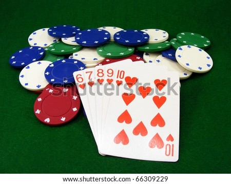 Poker Chips and Hearts Cards - stock photo
