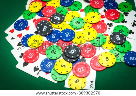 Poker chips and poker cards - stock photo