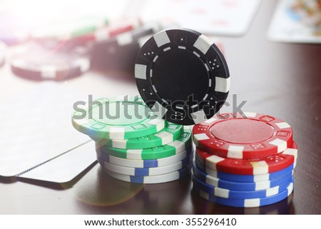 poker chips Cards