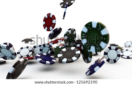 poker chips falling isolated on white background - stock photo