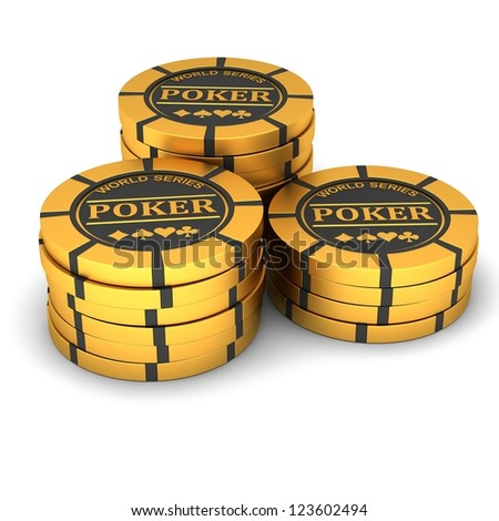 Poker chips on a white background - stock photo