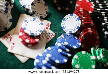 poker chips on the table - stock photo