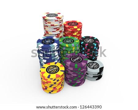Poker Chips Set Isolated on White Background - stock photo