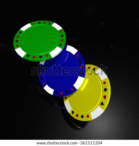 Poker chips with reflection on black table - stock photo