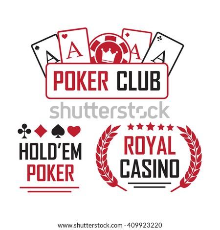 Poker club and casino sign set  - stock photo