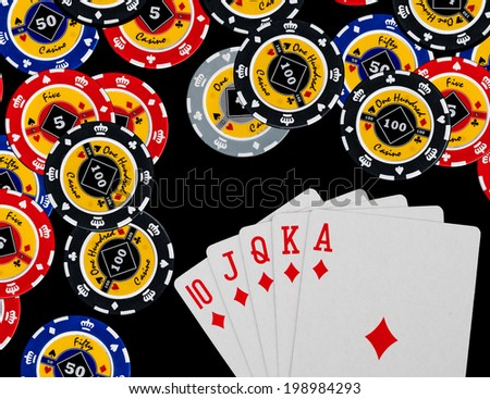 Poker Combination chips Playing cards in casino