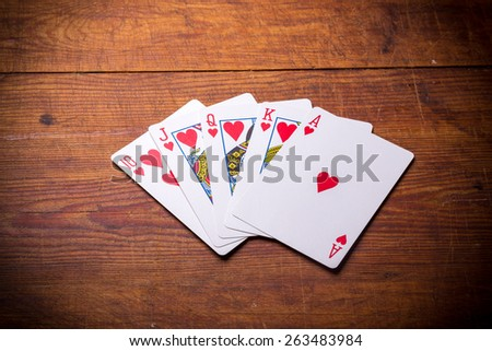 Poker. Combination Royal Flush hearts - stock photo