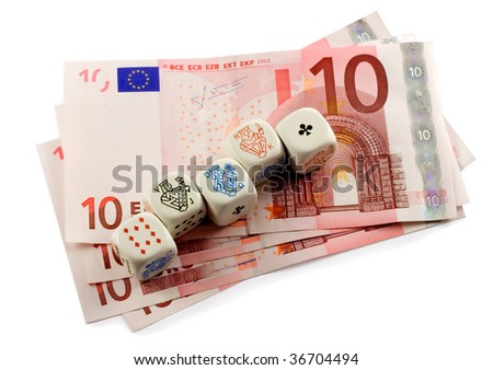 poker dice in euro money isolated on white background - stock photo