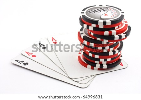 Poker Four aces and chips - stock photo
