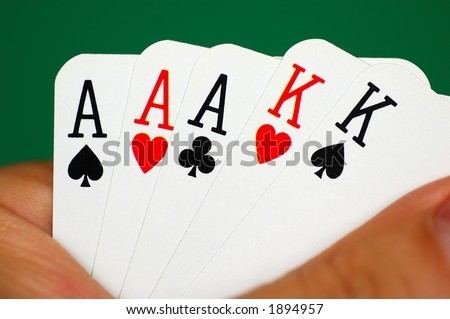 Poker hand - full house - stock photo