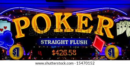 Poker - neon lights in casino - stock photo