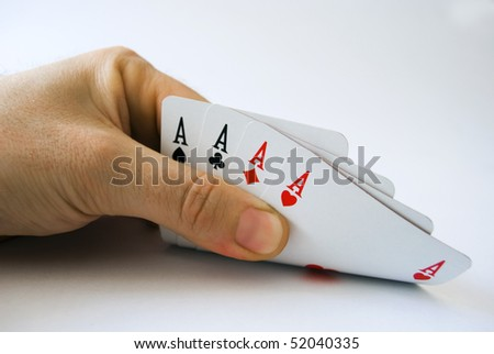 poker of aces on white background