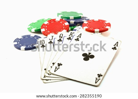 Poker play in white background