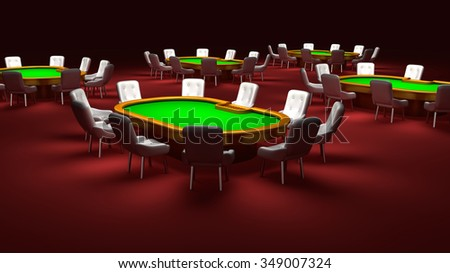Poker room, Poker tables with chairs in the interior - stock photo