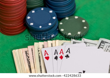 poker set - chips, money and card