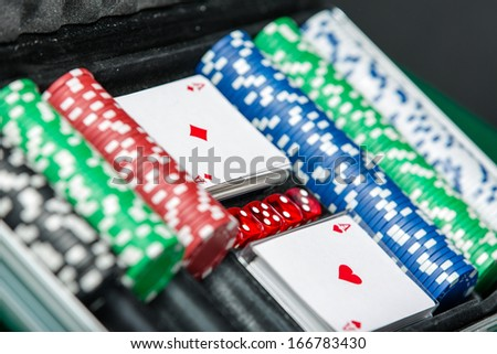 Poker set in the suitcase. Symbol of addiction to the poker - stock photo