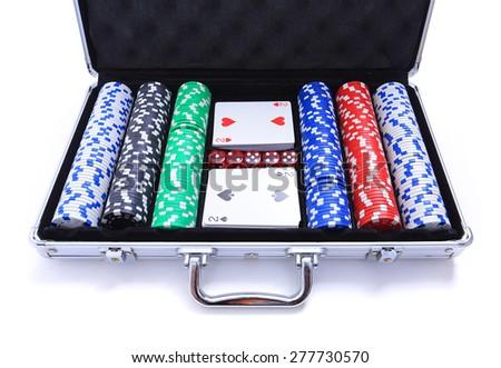 Poker set suitcase isolated on white - stock photo