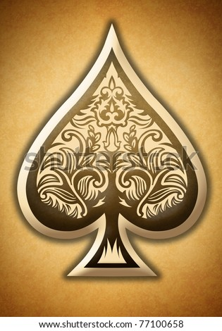 Poker spade - stock photo