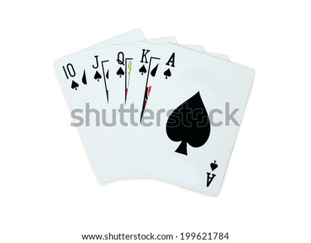 Poker spades of 10 J Q K A playing cards isolated on white background - stock photo
