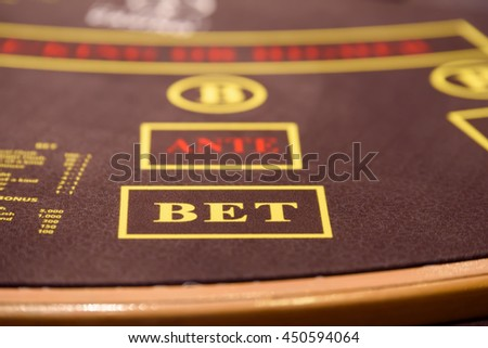 poker table with bet label - stock photo