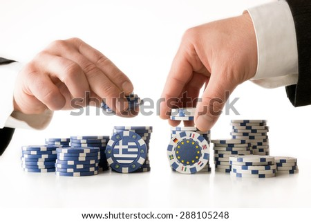 Poker to the future of Greece - stock photo