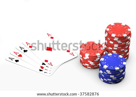 Poker winning hand isolated over a white background.
