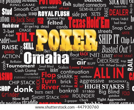 Poker Word Cloud with Industry Vernacular, Seamless over Black. High-resolution raster JPEG version.  - stock photo