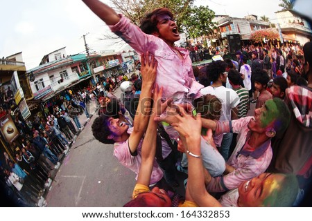 POKHARA, NEPAL- MARCH 7: Holi Festival (Festival of Colors) in Nepal. This is a religious spring festival celebrated by Hindus, March 7, 2012 in Pokhara, Nepal