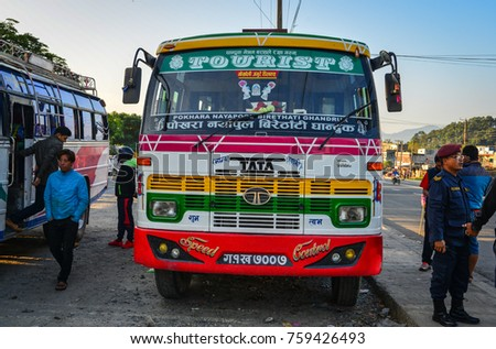Pokhara, Nepal - Oct 20, 2017. A local bus waiting at station in Pokhara, Nepal. Pokhara is the starting point for most of the treks in the Annapurna area.