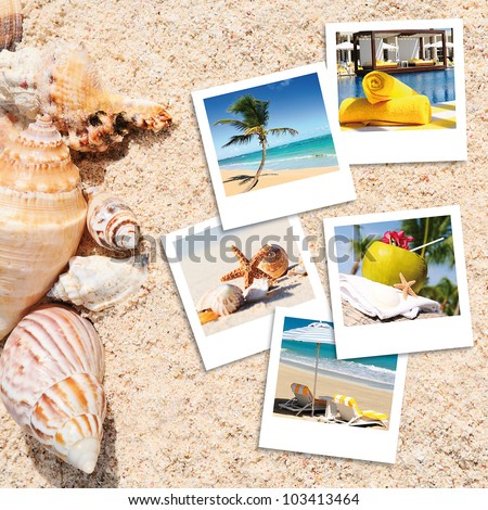 pola photography on the sand of a beach in summer - stock photo
