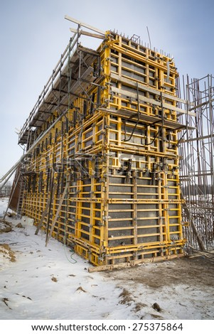 Polan - A1 highway building site during winter - stock photo