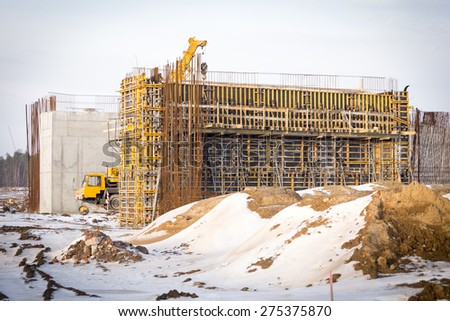 Polan - A1 highway building site during winter