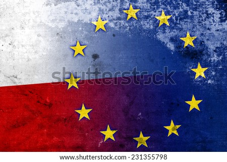 Poland and European Union Flag with a vintage and old look - stock photo