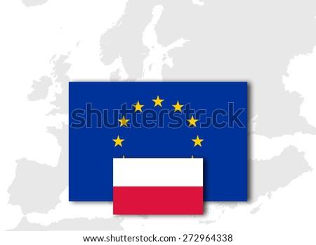 Poland and European Union Flag with Europe map background - stock photo