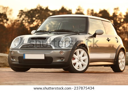 Poland, August 29 2014: Mini Cooper S car on parking lot