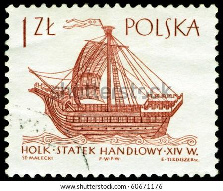 POLAND - CIRCA 1963: A post stamp printed in Poland and shows ancien french sailing ship, circa 1963 - stock photo