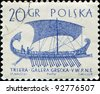 POLAND - CIRCA 1963: A post stamp printed in Poland  shows ancient greek sailing ship galley -triera, circa 1963 - stock photo